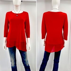 CHICO'S-Size 4-Red Tunic with Asymmetrical Hemline